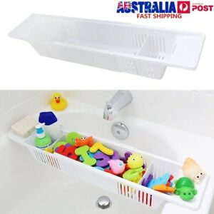 Bath-Tub-Toy-Organizer-Basket-Adjustable-White-Storage-Caddy-Kids-Baby-Holder