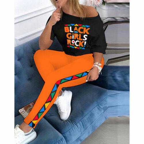 2Pcs Women Plus Size Lips Casual Sport Tracksuit Sets Lounge Wear Top Pants Suit