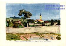 Basovizza near Trieste Italy German art print 1928 by Georg Lebrecht Church +