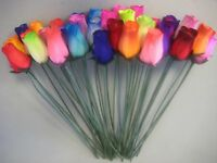 Bouquet Of 36 Mixed Color Wooden Rose Buds Artificial Flower, New, Free Shipping