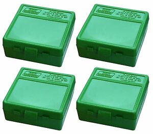 Details about NEW MTM 100 Round Flip-Top 380/9MM Ammo Box - Green (4 Pack)