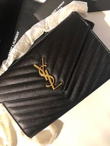 Authenticity Ysl Medium Envelope Shoulder Bag Black Grain