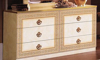 Große Kommode Herrenkommode mit Schubladen Beige-Gold Hochglanz Stilmöbel Italy