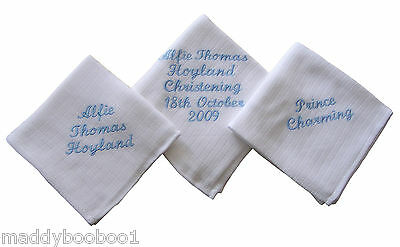Personalised Baby Burp Cloth Boy Girl Muslin Cloth Christening  Baptism Newborn