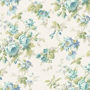 Wallpaper-Cottage-Rose-Floral-Trail-Blue-Gray-Green-on-Eggshell-White