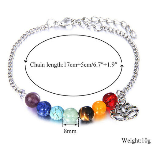 7Chakra perles bracelet Lotus Pendentif énergie yoga chaîne de la chevillebijouR