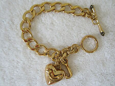 """Juicy Couture GoldTone Puffy Heart Charm Bracelet with Toggle Closure 7.5"""""""