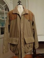REMINGTON hunting outdoor jacket flannel plaid lining men's XL leather patches