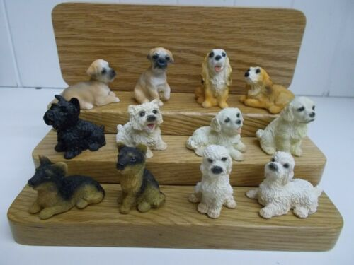 G0002 12 MINIATURE PUPPIES FIGURINES ASSORTED BREEDS POODLE LAB COCKER TERRIOR