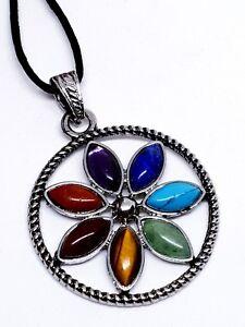 7-CHAKRA-Flor-Collar-con-Colgante-Autentico-Piedras-Preciosas-Cristales-Reiki