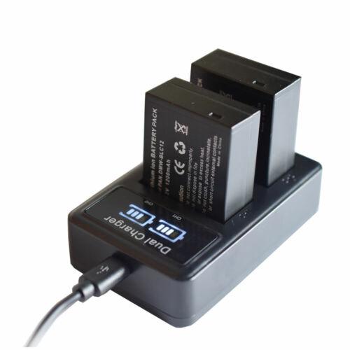 Cargador De Batería Para Lcd DMW-BLC12 Panasonic Lumix DMC-G5 G6 GH2 DMC-FZ1000 II