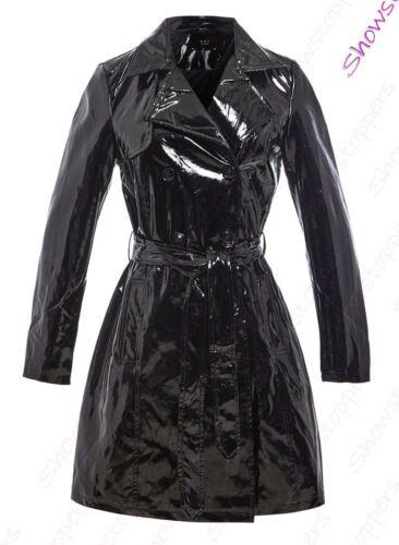 Kvinder 12 Black Mac Trench 8 Ladies Størrelse 14 16 Patent Coat 10 Ny Raincoat rr16q4FZ