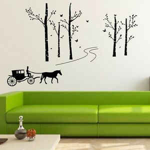 Forest tree horse cabriolet wall stickers vinyl decals for Diy tree wall mural