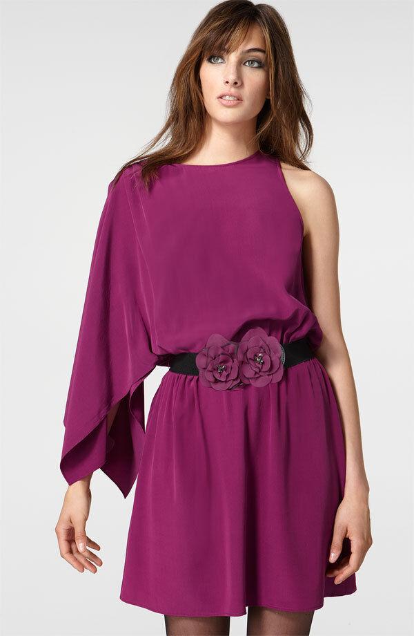 NEW Mcginn Audrey Belted One Shoulder Silk DRESS Größe 4  lila NORDSTROM