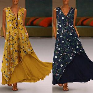 Plus-Size-Women-Sleeveless-Patchwork-Neck-Splicing-Floral-Print-Maxi-Long-Dress