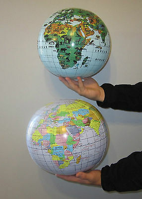 1 INFLATABLE WORLD GLOBE & 1 ANIMAL PRINT GLOBE BEACH BALLS INFLATE EARTH MAP