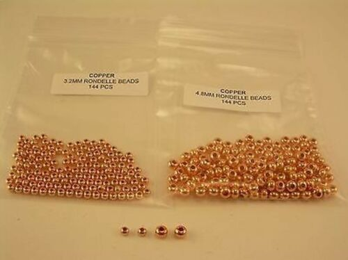 144 PCS OF EACH  3.2 /& 4.8 MM SOLID COPPER BRIGHT RONDELLE BEAD BUY TOGETHER