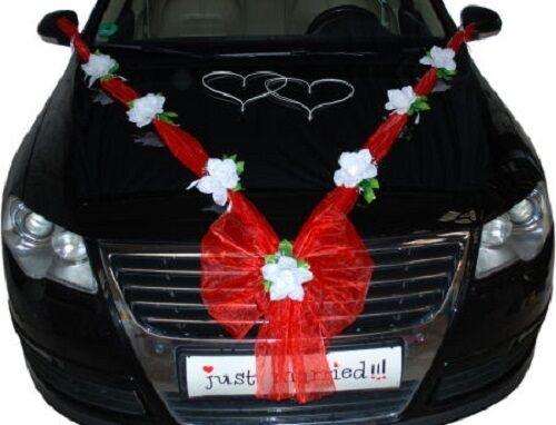 Rot//Weiß Hochzeit Autodeko Brautauto Autoschmuck Hochzeitsauto Autogirlande