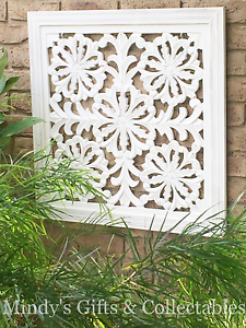 Image Is Loading 76cm Square Rustic White Distressed Wood Carved Wall