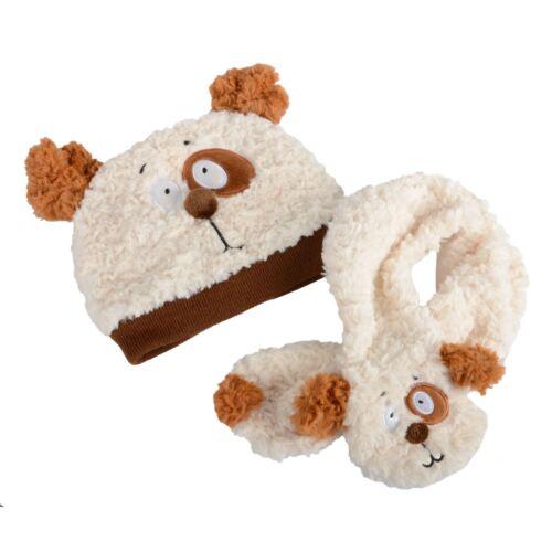 New Kids Boys Girls Toddlers Super Soft  Hat /& Scarf Set Teddy Bear Bunny Rabbit