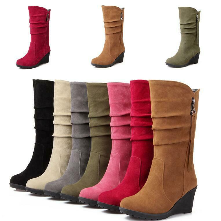 Hot Womens Mid Calf Boot Wedge Tassel Round Toe High Heel Suede Slouchy Side Zip