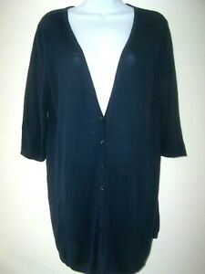 J JILL Navy Blue Linen Blend Button Front Tunic Cardigan Sweater M Half Sleeve