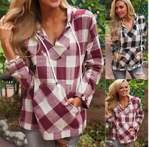 Women-Grid-Hoody-Hoodie-Sweater-Hooded-Sweatshirt-Casual-Pullover-Tops-Coat-AU