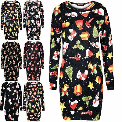 UnermüDlich Womens Ladies Christmas Xmas Santa Reindeer Fleece Sweatshirt Long Mini Dress