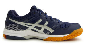 Asics Gel-Rocket 8 Hommes Badminton Chaussures Navy Indoor Chaussures Neuf avec étiquettes B706Y-4993