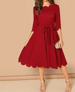 Round Neck 3/4 Sleeve Scallop Belted A Line Fit and Flare Dress Casual Work