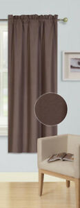BROWN 1PC (R64) ROD POCKET TOP PANEL SOLID BLACKOUT FOAM LINED WINDOW CURTAIN