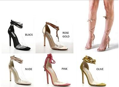 a353aac0247 New Open Toe Clear Lucite Tie Strap Rope Lace Up Stiletto High Heel ...
