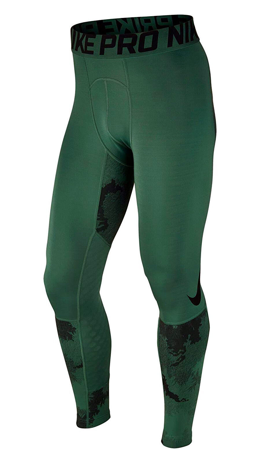 MENS CAMO NIKE PRO HYPERWARM COMPRESSION TRAINING BASE LAYER TIGHTS GREEN 801986