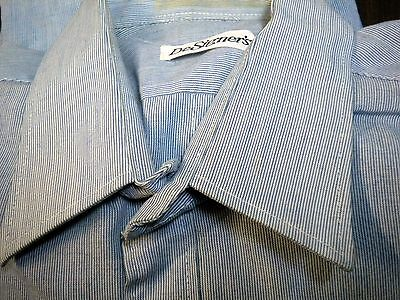 Camicia 40, Designers, Bianco-blu, Strisce Sottili, Taglia M, Vintage-mostra Il Titolo Originale Profitto Piccolo