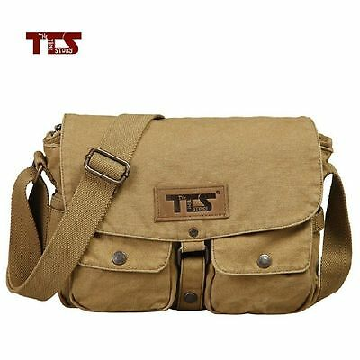 Mens Military Vintage Canvas Shoulder Messenger Travel School Hiking Bag Satchel