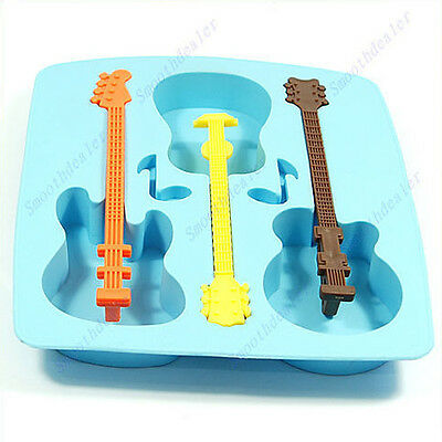 DIY Silicone Ice Cube Trays Molds Freeze Chocolate Jelly Musical Note Guitar