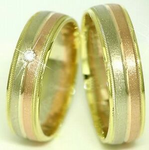 Trauringe-Eheringe-585-Gold-Tricolor-Handarbeit-14-Kt-Massiv-6-mm-breit