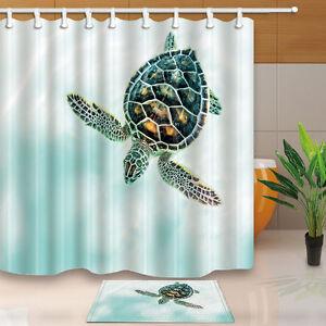 Details About Sea Turtle Ocean Animals Decor Waterproof Shower Curtain Bathroom Rugs 12 Hooks