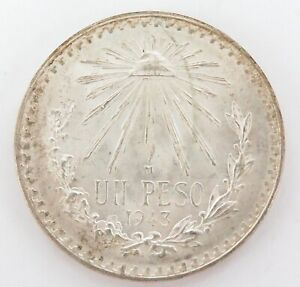GOOD-HIGH-GRADE-1943-MEXICO-MEXICAN-UN-PESO-SILVER-COIN