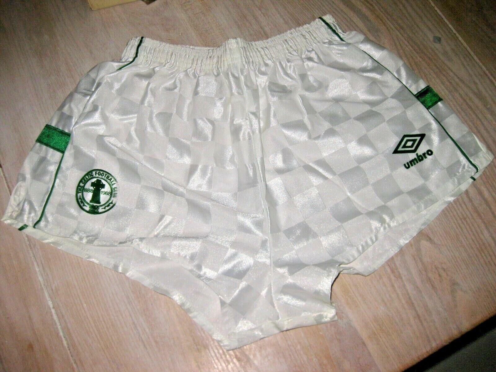 Vintage Umbridge Celtic Glasgow Shorts 80s Trikot Glanzshorts 36 tum 91 cm Shirt