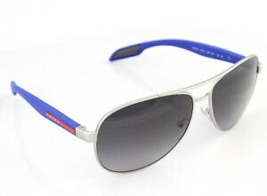 a6640e2ad3f Image is loading POLARIZED-New-PRADA-Silver-Blue-Aviator-Pilot-Sunglasses-