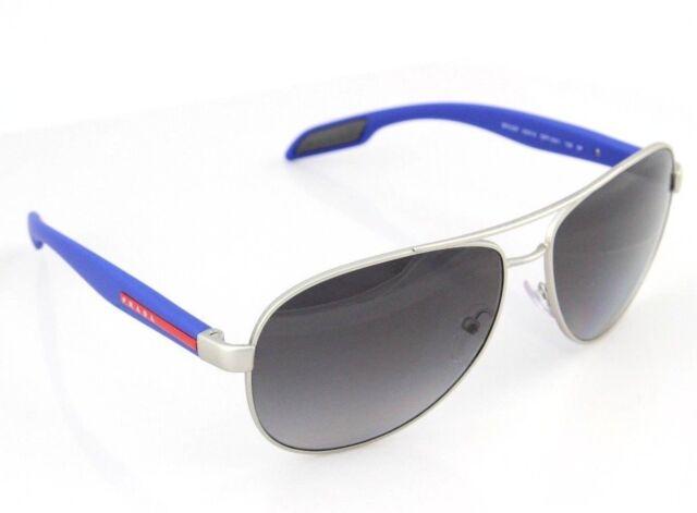 9f11e5130c29f POLARIZED New PRADA Silver Blue Aviator Pilot Sunglasses PS 53PS QFP5W1 SPS  53P