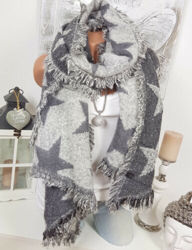XXL Winter Scarf Fringes Plaid Poncho Reversible Gray White Neckerchief Stars
