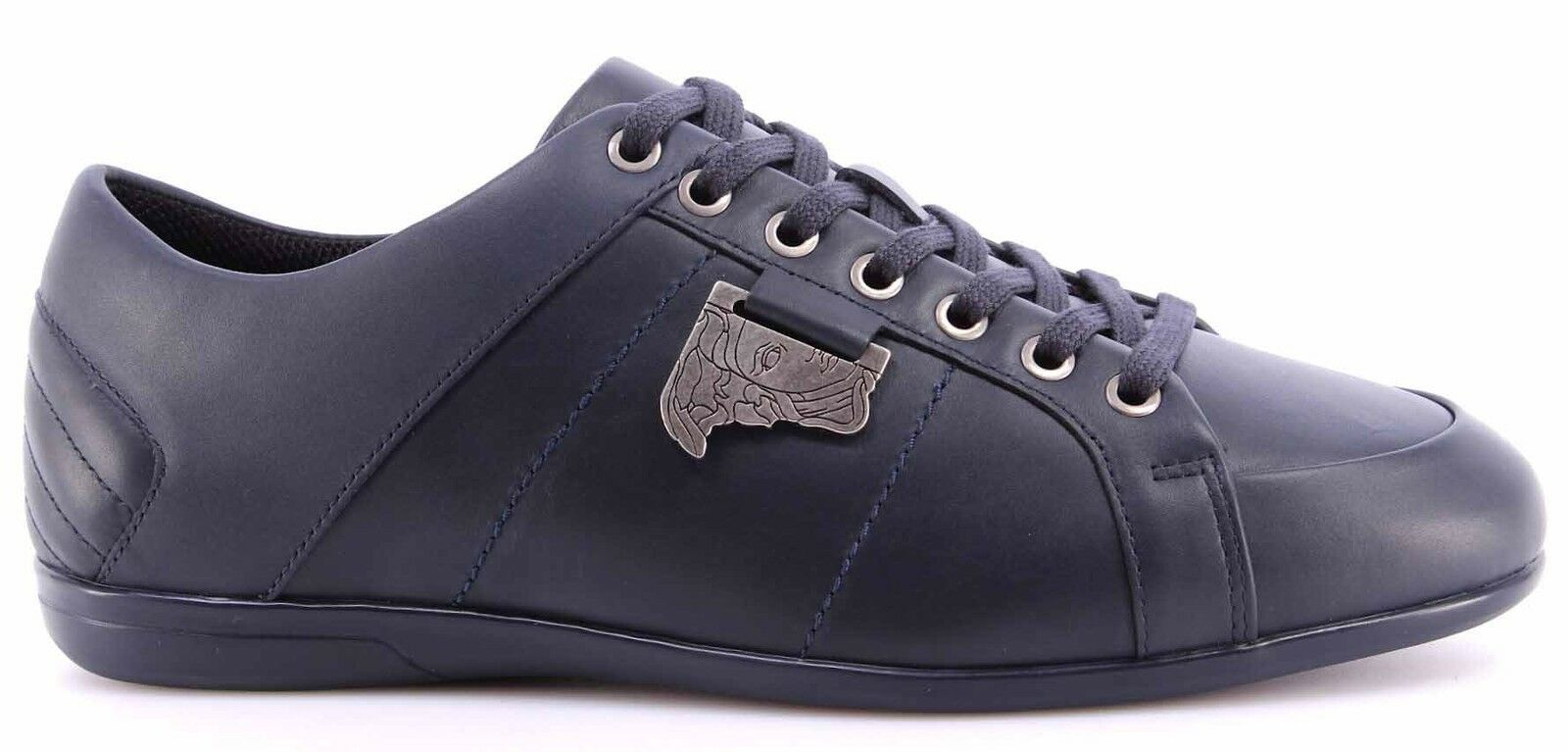 Men's Leather Sneakers Shoes VERSACE COLLECTION Leather Men's Blue Logo Antique Nikel New 978919