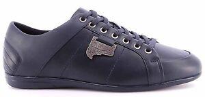 Para-hombres-Cuero-Tenis-Zapatos-VERSACE-COLLECTION-logotipo-azul-antiguo-Niquel-Nuevo