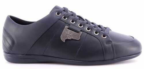 Men/'s Sneakers Shoes VERSACE COLLECTION Leather Blue Logo Antique Nikel New