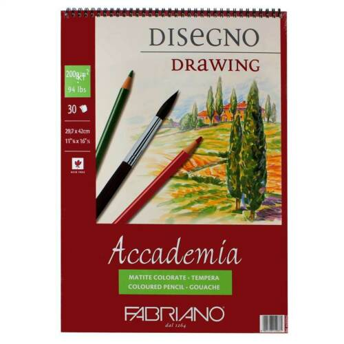 Fabriano Accademia 200g Drawing Pad 30 Sheets Spiral Glued Assorted Sizes A5 4 3