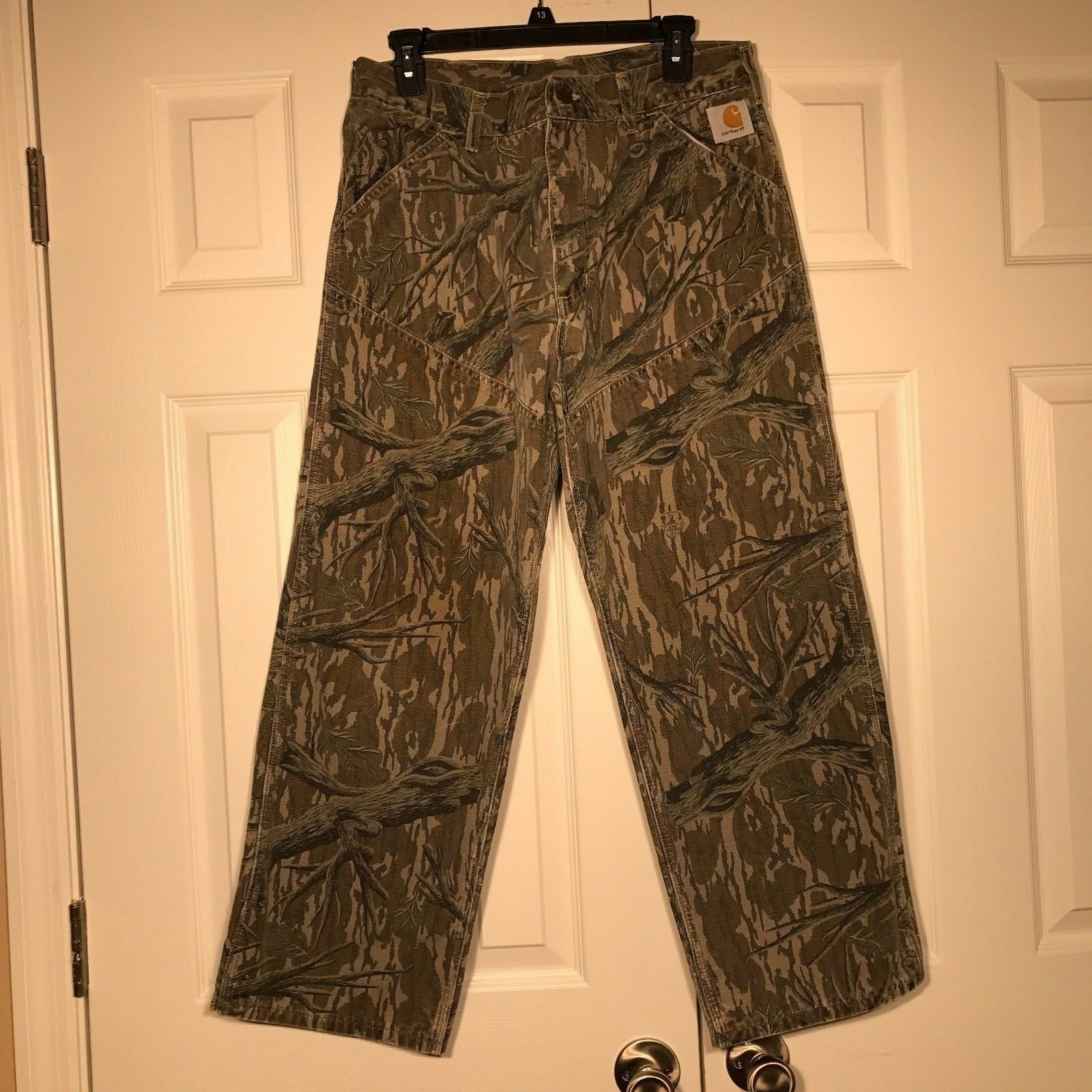 VINTAGE CARHARTT  Mossy Oak Tree-Stand Camo Hunting Pants Mens DOUBLE KNEE 32x27  latest styles