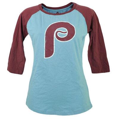 Mlb Philadelphia Phillies Mid Ärmel Damen Damen T-shirt Rundhalsausschnitt Blau Exquisite Handwerkskunst; Weitere Ballsportarten