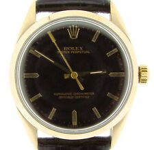 Men Rolex 14K Gold Shell Oyster Perpetual No-Date Watch w/Black Dial & Band 1024